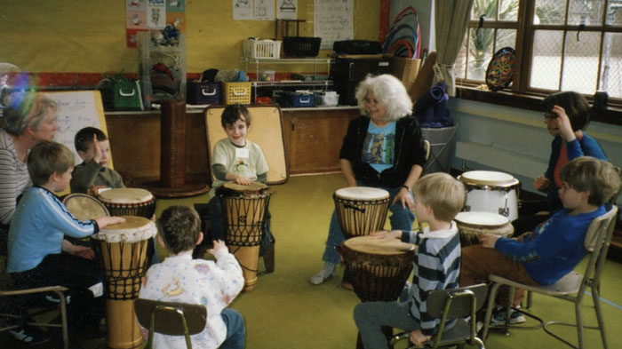Simone brings the joy of drumming to children in pre-school